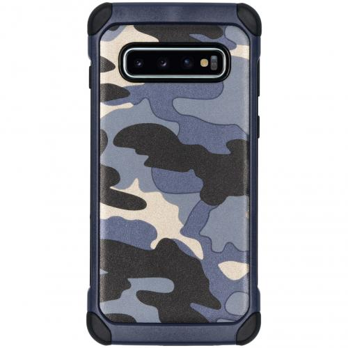 Army Defender Backcover voor Samsung Galaxy S10 - Blauw