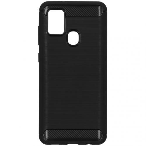 Brushed Backcover voor de Samsung Galaxy A21s - Zwart