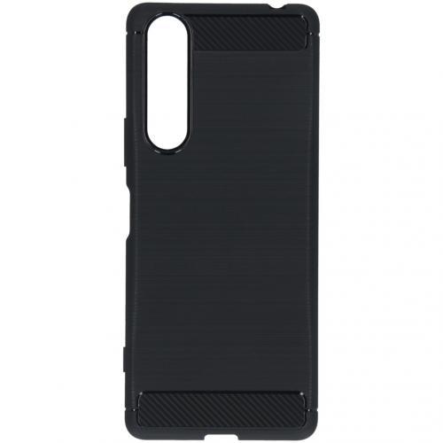 Brushed Backcover voor de Sony Xperia 1 II - Zwart