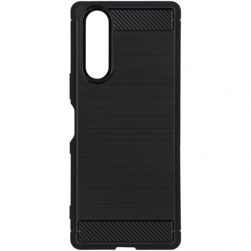 Brushed Backcover voor de Sony Xperia 5 - Zwart