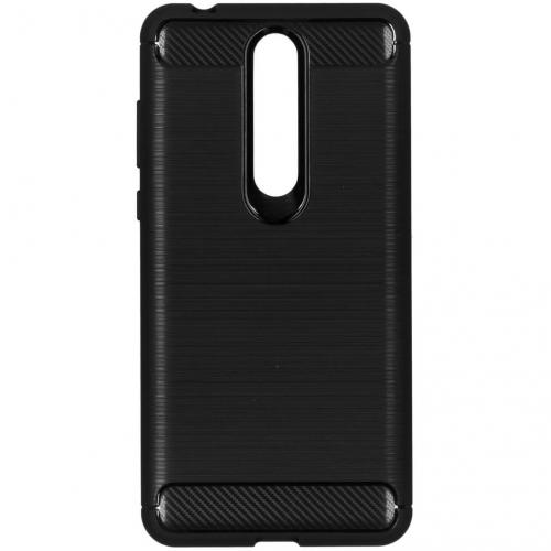 Brushed Backcover voor Nokia 3.1 Plus - Zwart