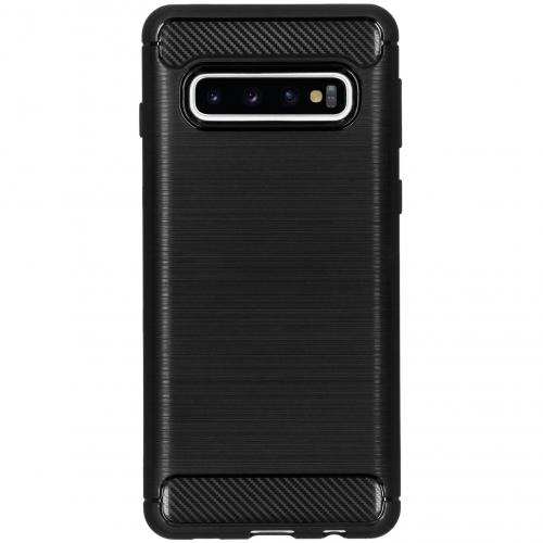 Brushed Backcover voor Samsung Galaxy S10 - Zwart