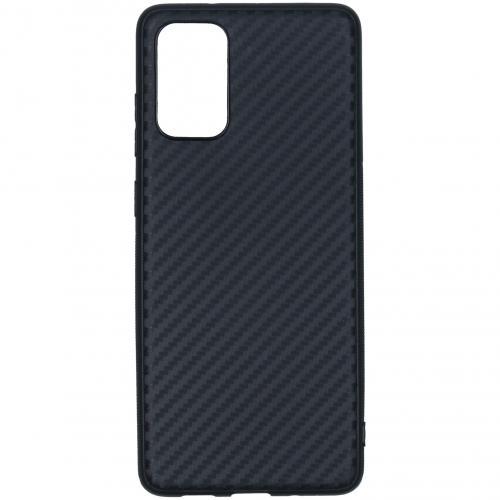 Carbon Softcase Backcover voor de Samsung Galaxy S20 Plus - Zwart