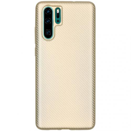 Carbon Softcase Backcover voor Huawei P30 Pro - Goud