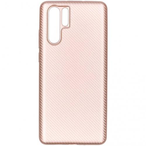 Carbon Softcase Backcover voor Huawei P30 Pro - Rosé goud