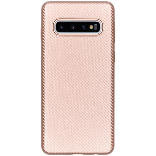 Carbon Softcase Backcover voor Samsung Galaxy S10 - Rosé goud