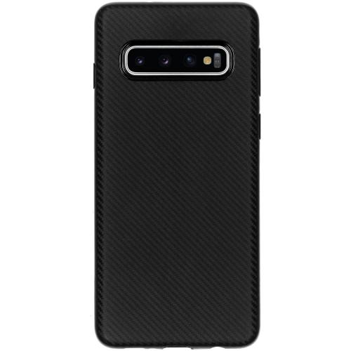 Carbon Softcase Backcover voor Samsung Galaxy S10 - Zwart