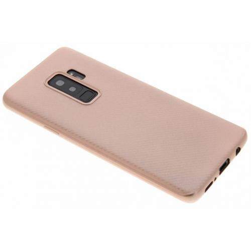 Carbon Softcase Backcover voor Samsung Galaxy S9 Plus - Rosé goud