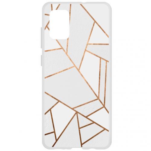Design Backcover voor de Samsung Galaxy A71 - Grafisch Wit / Koper