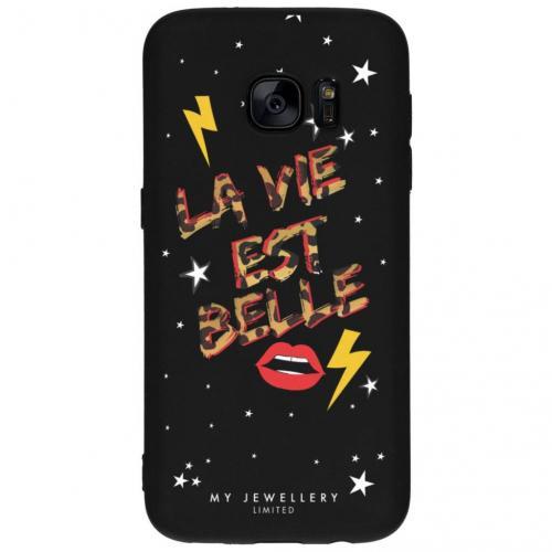 Design Backcover voor Samsung Galaxy S7 - La vie est Belle Zwart