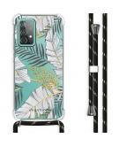 Design hoesje met koord Samsung Galaxy A52 (5G) / A52 (4G) - Bladeren - Zwart / Goud