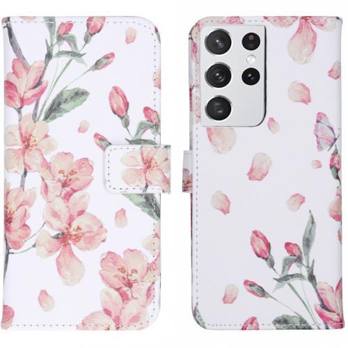 Design Softcase Book Case voor de Samsung Galaxy S21 Ultra - Blossom Watercolor White