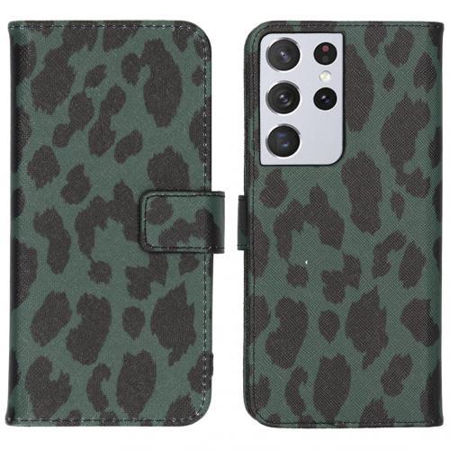 Design Softcase Book Case voor de Samsung Galaxy S21 Ultra - Green Leopard