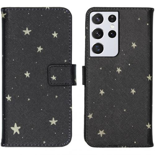 Design Softcase Book Case voor de Samsung Galaxy S21 Ultra - Stars Gold