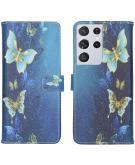 Design Softcase Book Case voor de Samsung Galaxy S21 Ultra - Vlinders