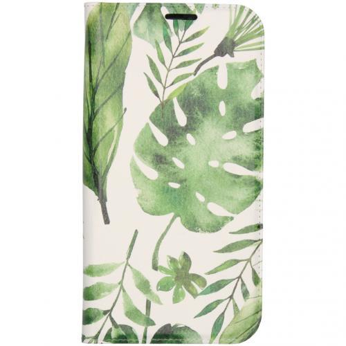 Design Softcase Booktype voor de iPhone 12 6.7 inch - Monstera Leafs