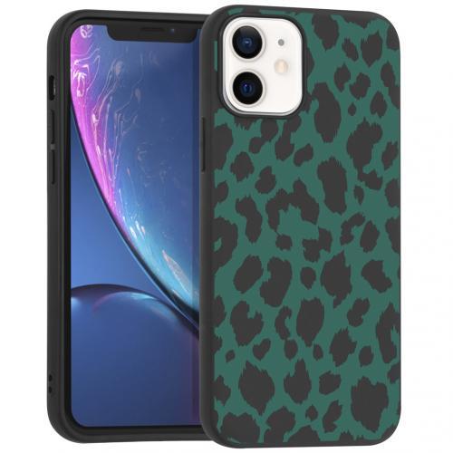Design voor de iPhone 12 Mini hoesje - Luipaard - Groen / Zwart
