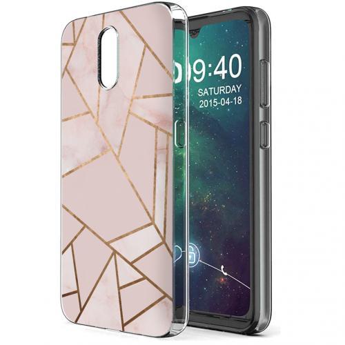 Design voor de Nokia 2.3 hoesje - Grafisch Koper - Roze / Goud