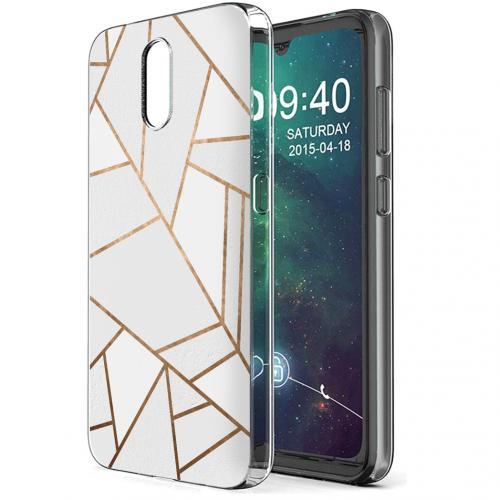 Design voor de Nokia 2.3 hoesje - Grafisch Koper - Wit / Goud