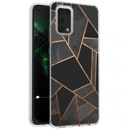 Design voor de Samsung Galaxy A02s hoesje - Grafisch Koper - Zwart / Goud