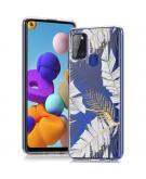 Design voor de Samsung Galaxy A21s hoesje - Bladeren - Zwart / Goud