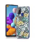 Design voor de Samsung Galaxy A21s hoesje - Jungle - Wit / Zwart / Groen