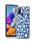 Design voor de Samsung Galaxy A21s hoesje - Luipaard - Blauw