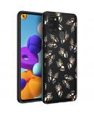 Design voor de Samsung Galaxy A21s hoesje - Vlinder - Zwart / Wit