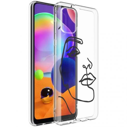 Design voor de Samsung Galaxy A31 hoesje - Abstract Gezicht - Zwart