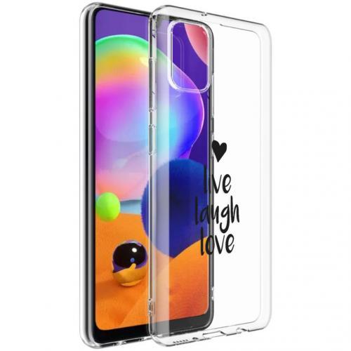 Design voor de Samsung Galaxy A31 hoesje - Live Laugh Love - Zwart