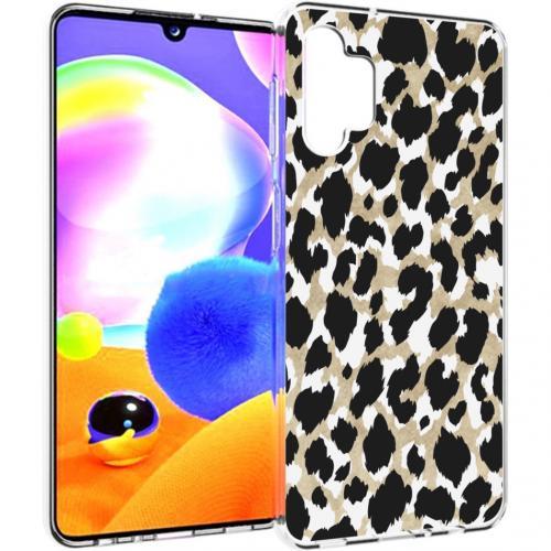 Design voor de Samsung Galaxy A32 (5G) hoesje - Luipaard - Goud / Zwart