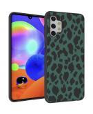 Design voor de Samsung Galaxy A32 (5G) hoesje - Luipaard - Groen / Zwart