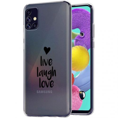 Design voor de Samsung Galaxy A51 hoesje - Live Laugh Love - Zwart