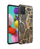 Design voor de Samsung Galaxy A71 hoesje - Bladeren - Goud / Zwart