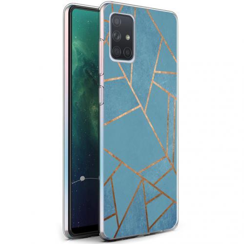 Design voor de Samsung Galaxy A71 hoesje - Grafisch Koper - Blauw / Goud