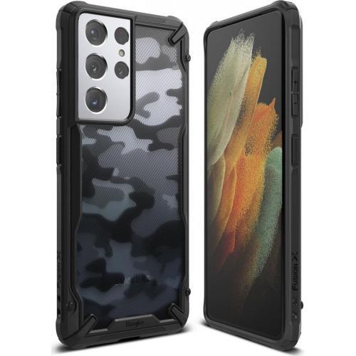 Fusion X Backcover voor de Samsung Galaxy S21 Ultra - Camo Zwart