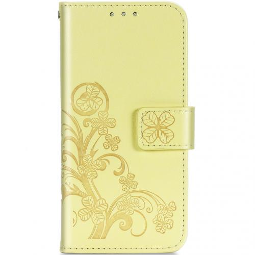 Klavertje Bloemen Booktype voor de Samsung Galaxy A21s - Geel