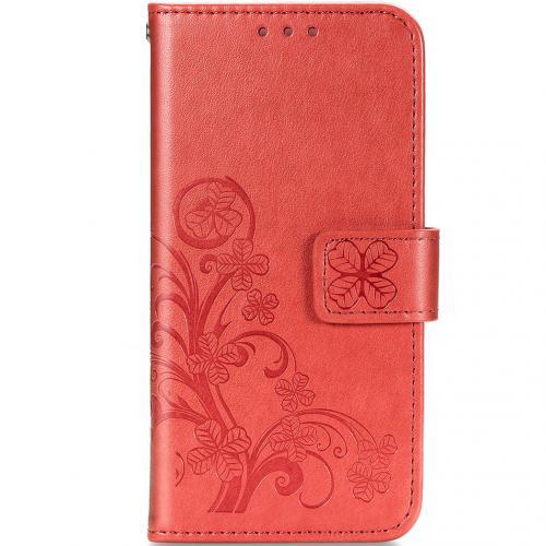 Klavertje Bloemen Booktype voor de Samsung Galaxy A21s - Rood