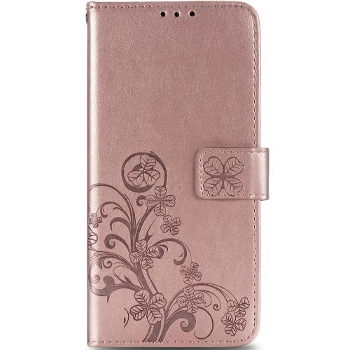 Klavertje Bloemen Booktype voor de Samsung Galaxy A21s - Rosé Goud