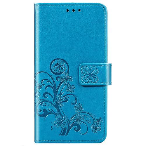 Klavertje Bloemen Booktype voor de Samsung Galaxy A21s - Turquoise