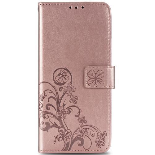 Klavertje Bloemen Booktype voor de Sony Xperia 1 II - Rosé Goud