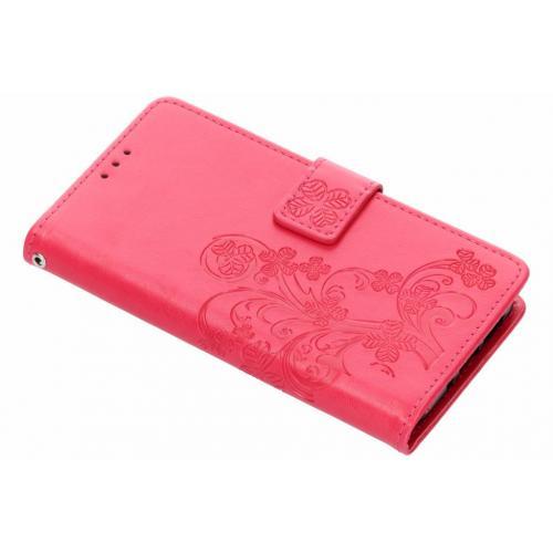 Klavertje Bloemen Booktype voor Nokia 7.1 - Roze