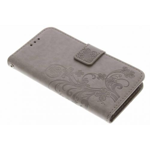 Klavertje Bloemen Booktype voor Samsung Galaxy A5 (2017) - Grijs