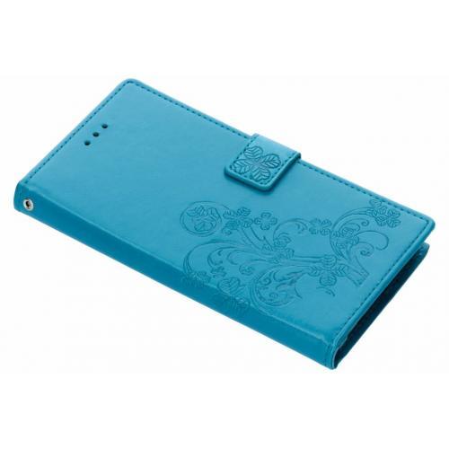 Klavertje Bloemen Booktype voor Samsung Galaxy Note 9 - Turquoise