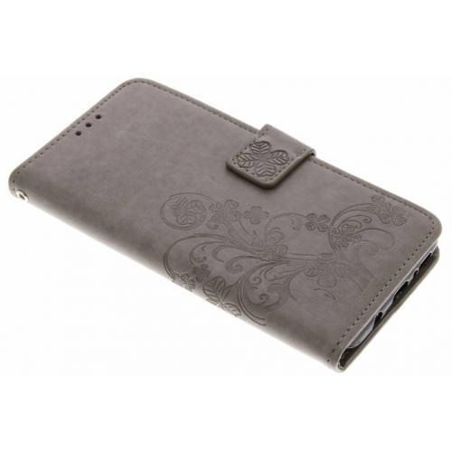 Klavertje Bloemen Booktype voor Samsung Galaxy S9 Plus - Grijs