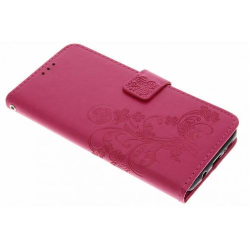 Klavertje Bloemen Booktype voor Samsung Galaxy S9 Plus - Roze