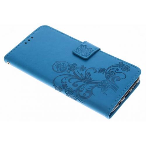 Klavertje Bloemen Booktype voor Samsung Galaxy S9 Plus - Turquoise
