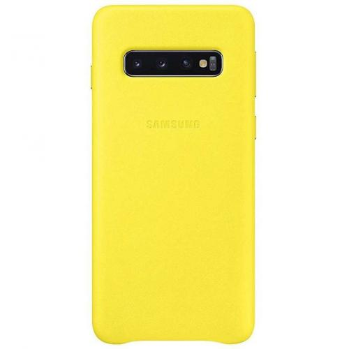 Leather Backcover voor de Galaxy S10 - Geel