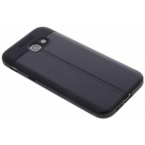 Lederen Backcover met stiksel voor Samsung Galaxy A5 (2017) - Zwart