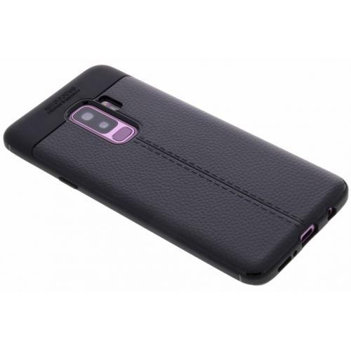 Lederen Backcover met stiksel voor Samsung Galaxy S9 Plus - Zwart